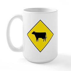 Cattle Crossing Sign - Large Mug