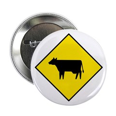 Cattle Crossing Sign - Button