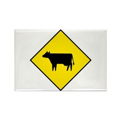 Cattle Crossing Sign - Rectangle Magnet (10 pack)
