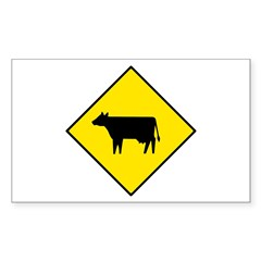 Cattle Crossing Sign - Rectangle Decal