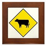 Cattle Crossing Sign - Framed Tile