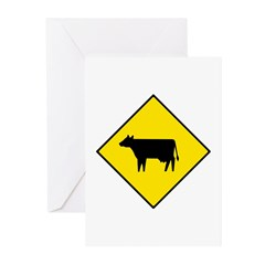 Cattle Crossing Sign - Greeting Cards (Package of
