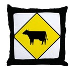 Cattle Crossing Sign - Throw Pillow