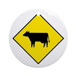 Cattle Crossing Sign - Keepsake (Round)