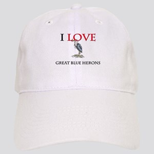 I Love Great Blue Herons Cap