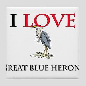 I Love Great Blue Herons Tile Coaster