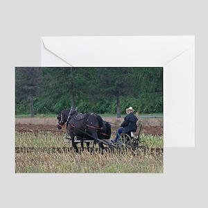 Draft Horses Plowing Greeting Card