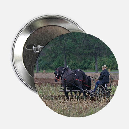 """Draft Horses Plowing 2.25"""" Button"""