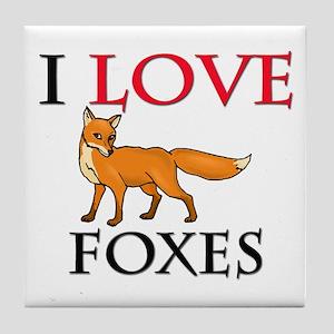 I Love Foxes Tile Coaster