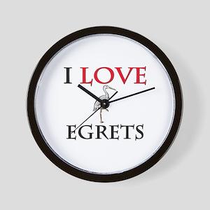 I Love Egrets Wall Clock