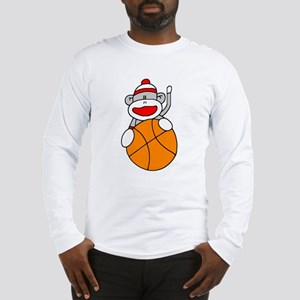 Sock Monkey with Basketball Long Sleeve T-Shirt