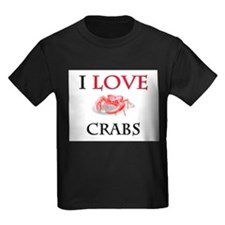 I Love Crabs Kids Dark T-Shirt