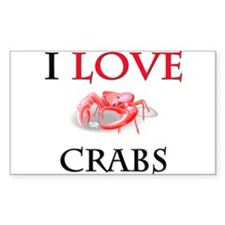 I Love Crabs Rectangle Sticker