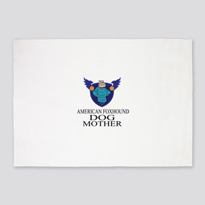 American foxhound Dog Mother 5'x7'Area Rug