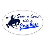 Cowboy Oval Sticker