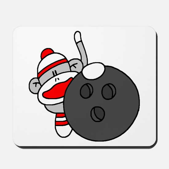 Sock Monkey with Bowling Ball Mousepad