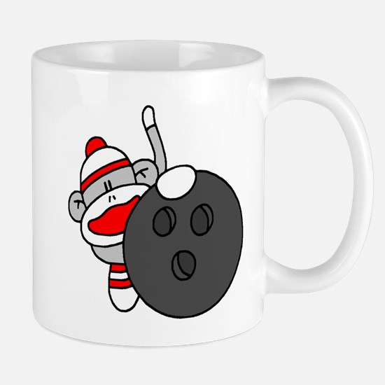 Sock Monkey with Bowling Ball Mug