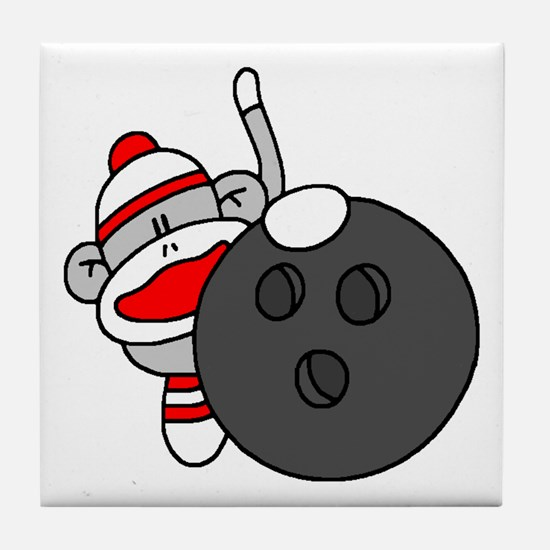 Sock Monkey with Bowling Ball Tile Coaster