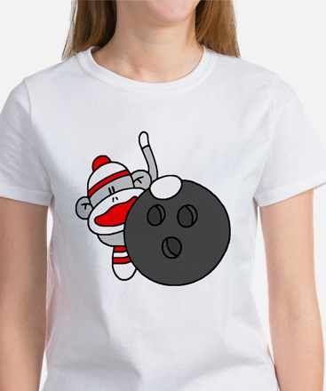 Sock Monkey with Bowling Ball Women's T-Shirt