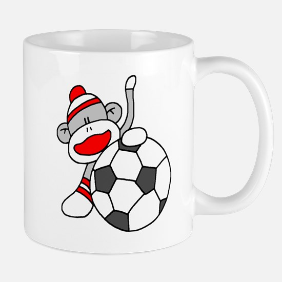 Sock Monkey with Soccer Ball Mug