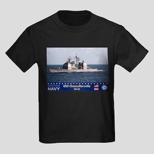 USS Chancellorsville CG-62 Kids Dark T-Shirt