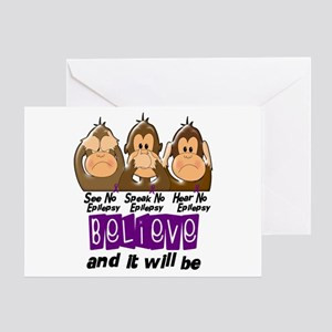 See Speak Hear No Epilepsy 3 Greeting Card