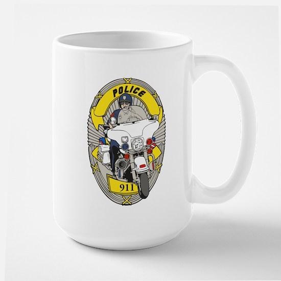 BIKE OFFICER WITH BADGE Large Mug