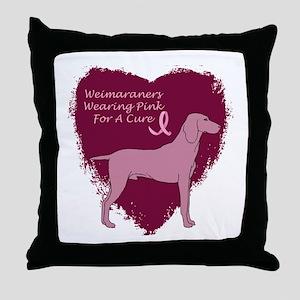 Pink Ribbon Weimaraner Throw Pillow