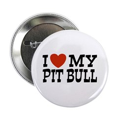 I Love My Pit bull Button