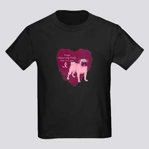 Pink Ribbon Pug Kids Dark T-Shirt