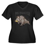 Pig Squatch Women's Plus Size V-Neck Dark T-Shirt