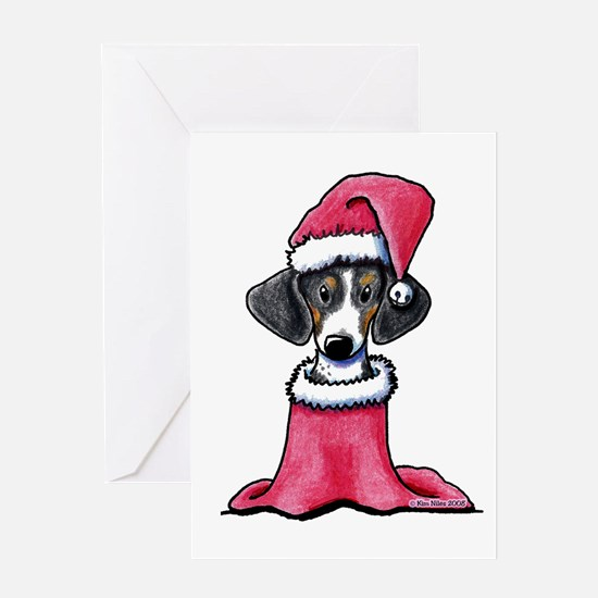 Holiday Piebald Doxie Greeting Card