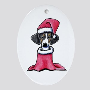 Holiday Piebald Doxie Oval Ornament