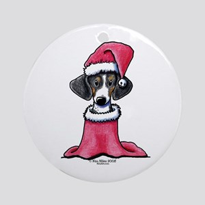 Holiday Piebald Doxie Ornament (Round)
