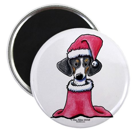 """Holiday Piebald Doxie 2.25"""" Magnet (100 pack)"""