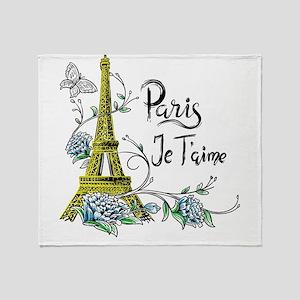 Paris shirt Eiffel Tower Je taime Pa Throw Blanket