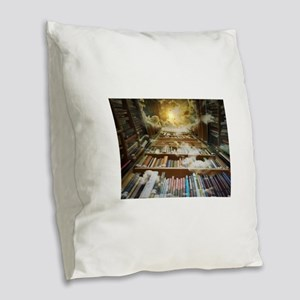 Library In the Sky Burlap Throw Pillow