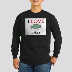 I Love Bass Long Sleeve Dark T-Shirt