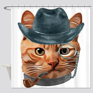 Cat Kitty Kitten In Clothes Pipe Mo Shower Curtain