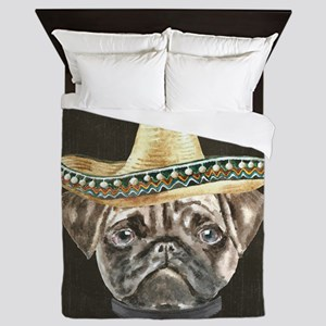Pug Sombrero Hat Collar Dogs In Cloth Queen Duvet