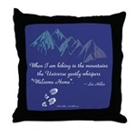 Hiking Mountains Universe Throw Pillow