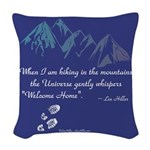Hiking Mountains Universe Woven Throw Pillow
