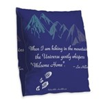 Hiking Mountains Universe Burlap Throw Pillow