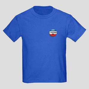 I Voted Button Kids Dark T-Shirt