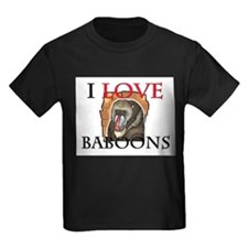 I Love Baboons Kids Dark T-Shirt