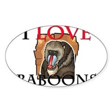 I Love Baboons Oval Sticker
