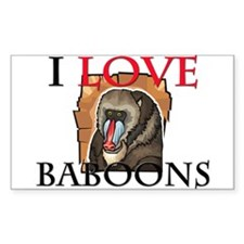 I Love Baboons Rectangle Sticker