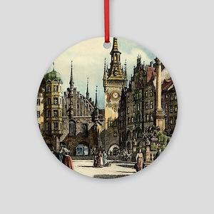 Old Munich Cityscape Ornament (Round)