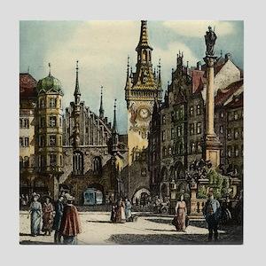Old Munich Cityscape Tile Coaster