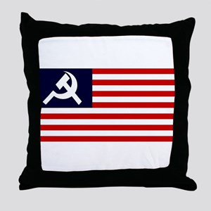 Soviet America Flag Throw Pillow